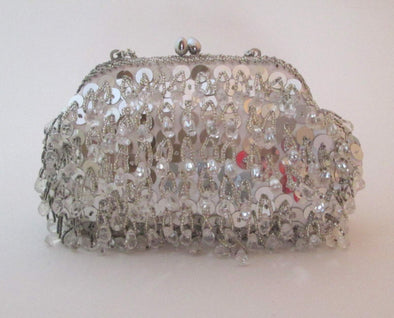 Silver and White Beaded Flapper Bag, Vintage 1970s silver sequin purse wedding bag, white bead formal purse, flapper purse