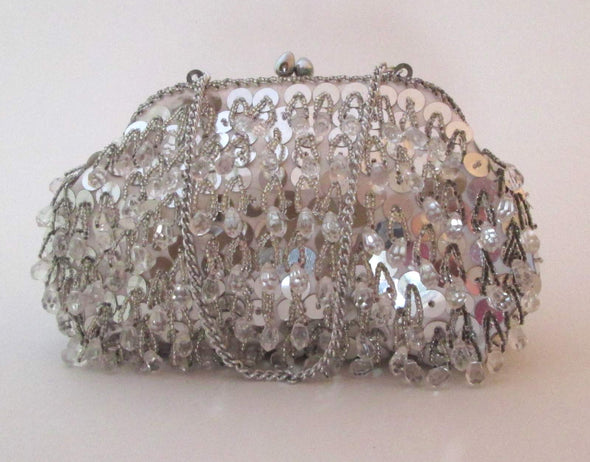 Silver and White Beaded Flapper Bag Vintage 1970s sequin purse wedding bag formal purse - Late Boomer Vintage