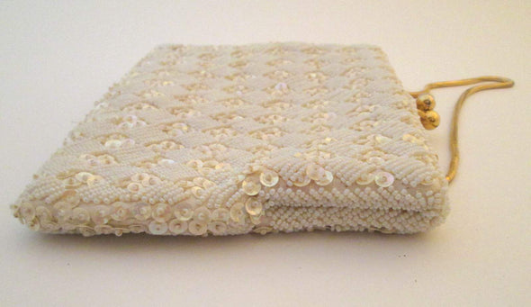Vintage 1970s White Bead Bag Wedding Purse, white beaded and sequin evening bag - Late Boomer Vintage