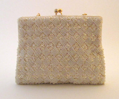 Vintage 1970s White Bead Bag Wedding Purse, white beaded and sequin evening bag