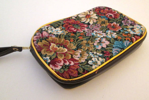 Small Tapestry Makeup Bag Clutch with handle, vintage cosmetic travel bag, floral tapestry petit point purse - Late Boomer Vintage