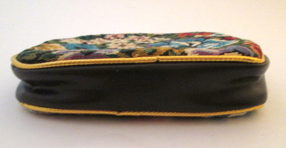Mini Tapestry Makeup Bag Clutch, floral fabric vintage cosmetic travel bag with handle - Late Boomer Vintage