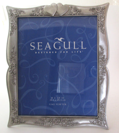 Seagull Pewter 8x10 frame, Marilyn's Rose pewter wedding frame, silver frame for 8x10 photos, seagull pewter made in Canada - Late Boomer Vintage