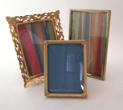 4x6 frame Vintage Frame Set of 3 frames ornate gold metal boho decor - Late Boomer Vintage