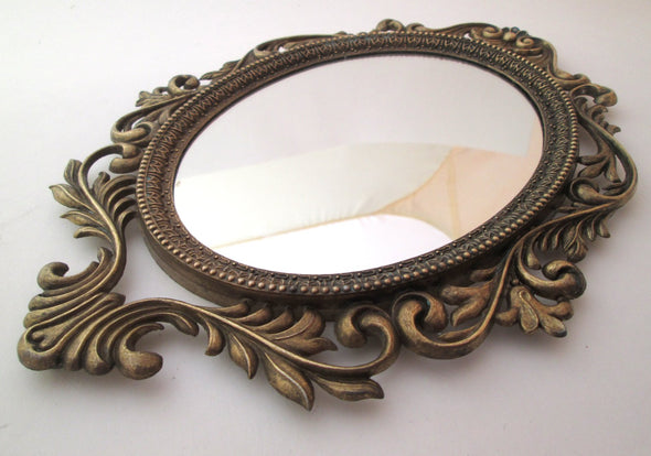 Solid Brass Vintage Wall mirror framed boho decor art nouveau style Italy vanity - Late Boomer Vintage