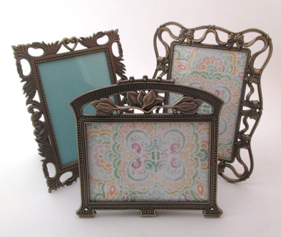 Vintage 3x5 Frame Set of 3 frames, ornate bronze metal flower photo frame with bows boho decor,