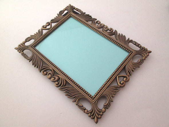 Vintage 3x5 Frame Set of 3 frames, ornate bronze metal flower photo frame with bows boho decor, - Late Boomer Vintage