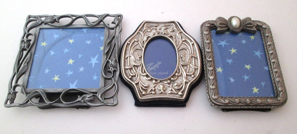 Vintage 2x3 frame set of 3 small mini frames ornate silver metal boho nursery vanity table decor - Late Boomer Vintage