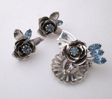 Vintage Coro Brooch Pin Earrings Set Silver Blue Roses Jewelry Demi Parure screw back - Late Boomer Vintage