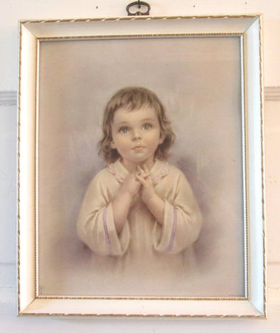 Vintage Framed Art Print 9x11 frame praying child nursery decor baby shower gift religious - Late Boomer Vintage