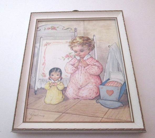 Vintage Praying Child Framed Art Print 9x11 wooden frame nursery decor baby shower gift religious - Late Boomer Vintage