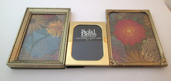 Set of 3 vintage 5x7 brass metal photo frames, wedding table and nursery decor frame