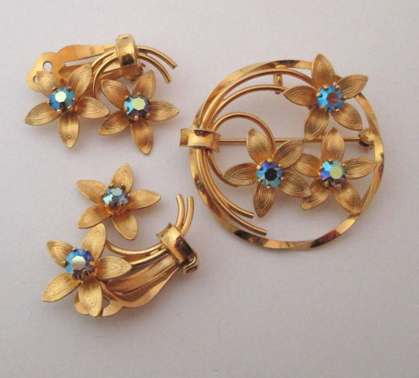 Dixelle Blue Rhinestone 12KGF Brooch Clip Earrings Set Demi Parure flower pin Vintage 1960s - Late Boomer Vintage