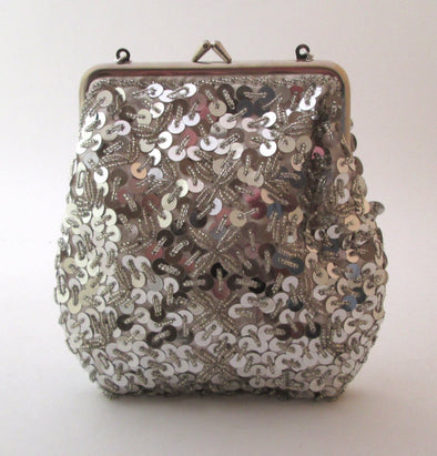 Vintage 1970s silver sequin and bead purse - Late Boomer Vintage