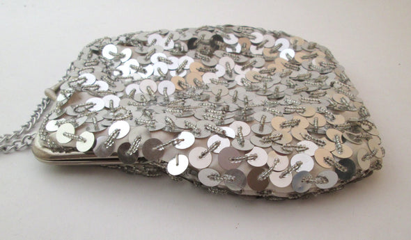 Vintage 1970s silver sequin and bead purse