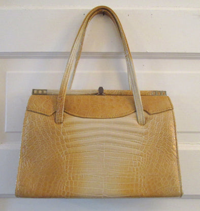 Vintage 1960s faux leather large handbag Mad Men style fake alligator skin purse - Late Boomer Vintage