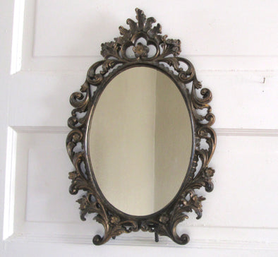 Vintage Plastic framed wall mirror vanity table resin frame french cottage - Late Boomer Vintage