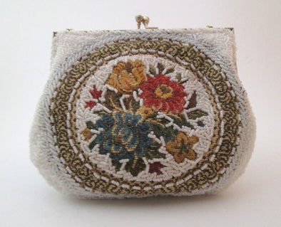 1960s Vintage White Bead and Tapestry Fabric Bag