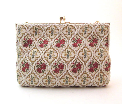 Vintage 1970s Tapestry and Bead Purse