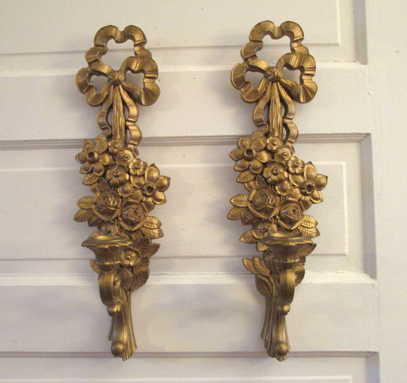 Vintage Syroco Candle Sconce Pair French Country Decor wall sconce candle holder patio porch boho