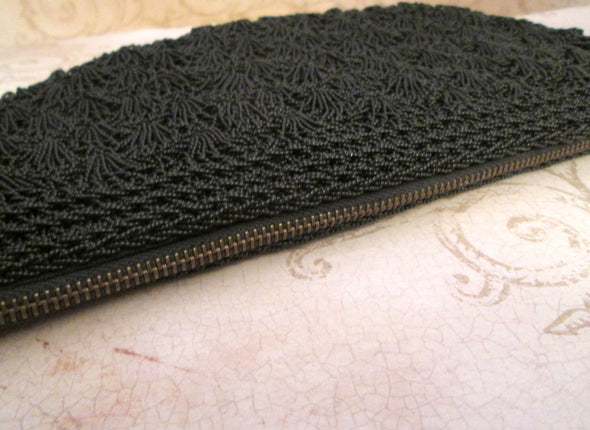 Black Evening Bag 1950s clutch purse vintage Black Beaded Bag Micro Bead Bag - Late Boomer Vintage