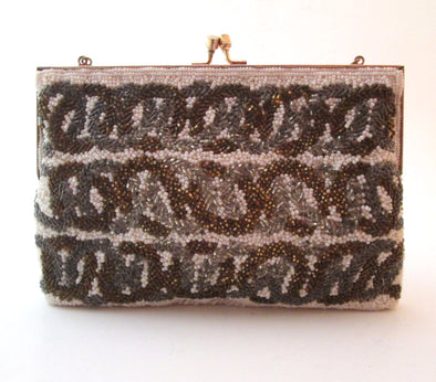 Vintage 1970s Silver Gold Metallic Beaded White Bag handbag disco purse
