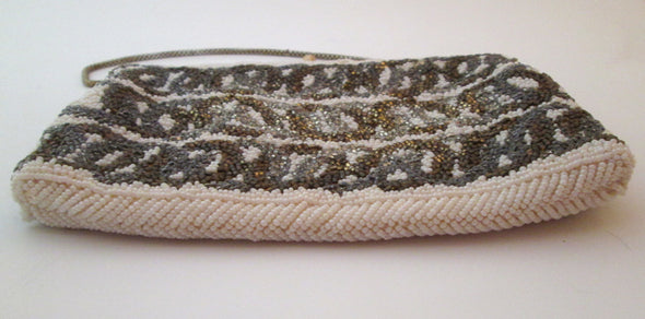 Vintage Bead Evening Bag 1970s disco metallic Silver Gold White Beaded purse - Late Boomer Vintage