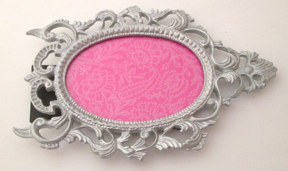 Vintage Ornate Oval 5x8 cast metal silver photo frame for 3x4 pictures boho decor - Late Boomer Vintage
