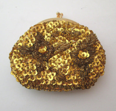 Gold Beaded Coin Purse Vintage 1970s mini bag small purse - Late Boomer Vintage
