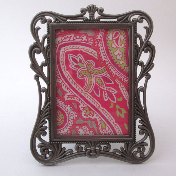 Vintage 4x6 metal filigree frame for 3.5x5 photos ornate silver metal picture frame - Late Boomer Vintage