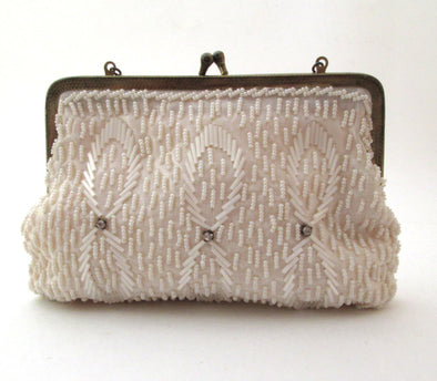 Vintage White Bead Small Bag, 1960s Wedding Bag White Beaded Purse - Late Boomer Vintage