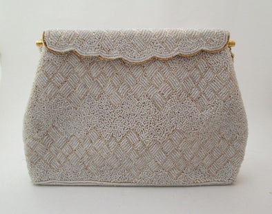 Vintage White Bead Wedding Bag 1960s Purse beaded formal evening bag Gatsby bride - Late Boomer Vintage