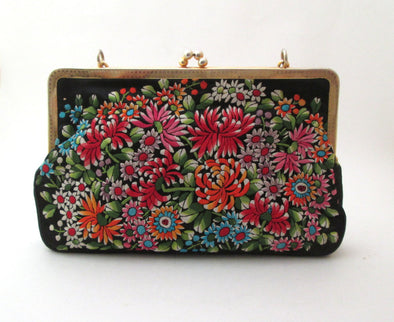 Tapestry Bag 1970s Vintage Embroidery Handbag, satin purse flower power fashion