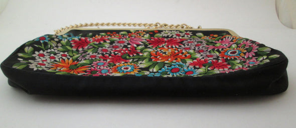 Tapestry Bag 1970s Vintage Embroidery Handbag, satin purse flower power fashion - Late Boomer Vintage