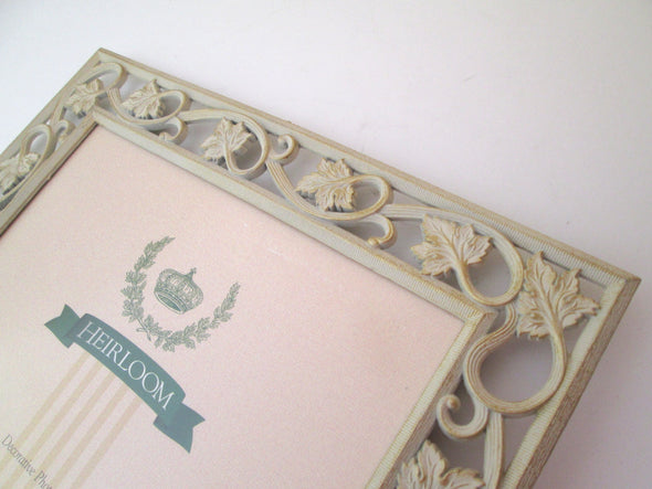 Vintage 10x12 metal picture frame for 8x10 photos white and gold wedding frame leaves and vines - Late Boomer Vintage