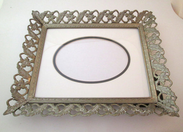 Vintage 10x12 Wedding Photo Frame, 8x10 Filigree Picture Frame Gatsby Wedding, white and gold metal frame with mat - Late Boomer Vintage