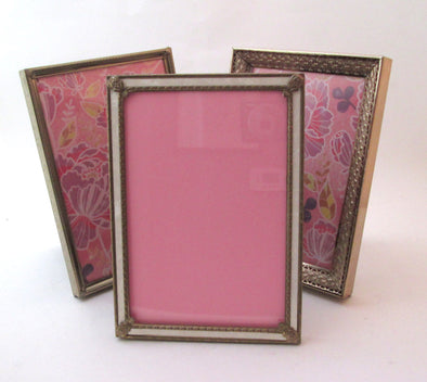 Set of 3 vintage 5x7 metal picture frames wedding table numbers photo frame instant collection boho