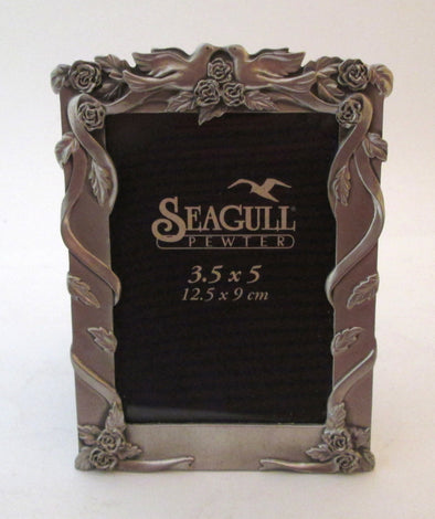 Vintage 3.5x5 Seagull Pewter Picture Frame love birds wedding photo frame silver roses and ribbons - Late Boomer Vintage
