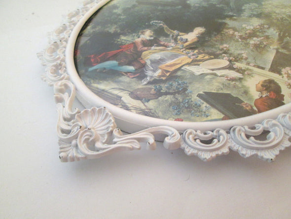 Vintage 11x16 Large Oval Picture Frame Bubble Glass ornate white metal Italy boho decor - Late Boomer Vintage