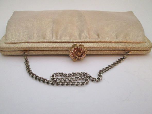 Vintage 1950s Gold Lame Evening Bag Metallic gold handbag disco fabric lame purse - Late Boomer Vintage