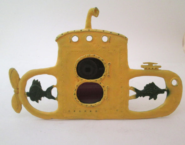 Vintage Picture frame Metzke cast metal yellow submarine double porthole marine small photo frame - Late Boomer Vintage