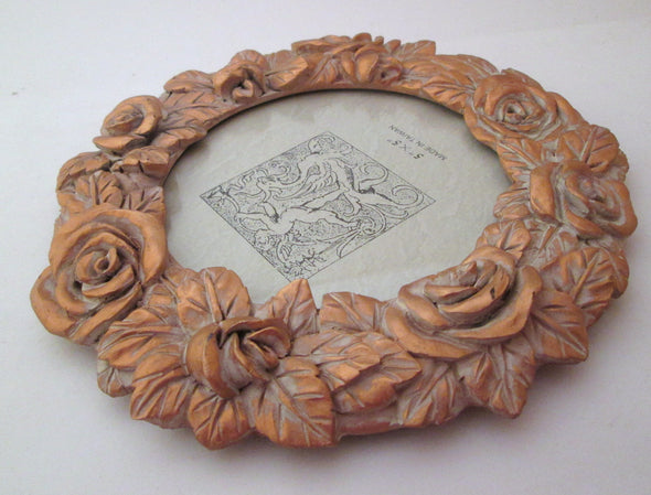 Vintage Round Frame for 5x5 pictures golden roses small circle photo frame - Late Boomer Vintage