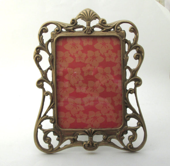 Vintage Solid Brass Picture Frame for 5x7 photos Art Nouveau style metal photo frame - Late Boomer Vintage