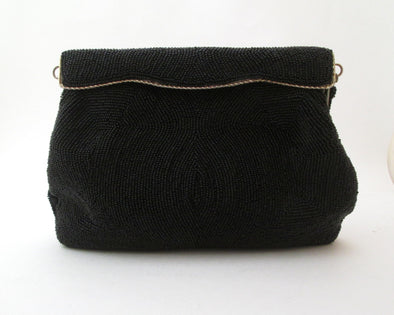 Formal Black Bead Handbag Evening Bag, Vintage 1960s Black Bead Purse