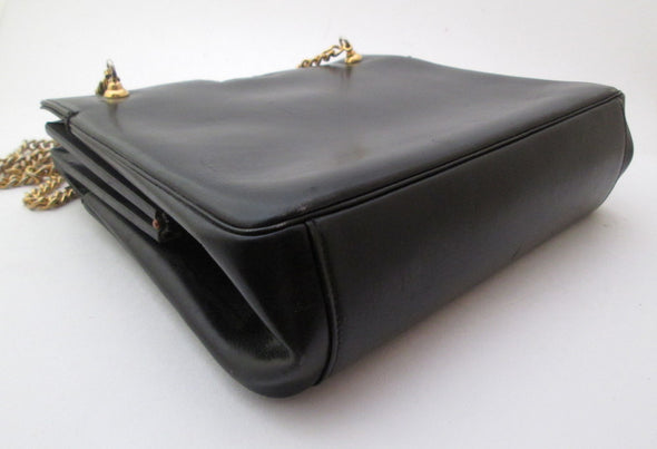 Vintage 1960s kelly bag Navy Blue Leather Handbag made in France Leather Purse - Late Boomer Vintage