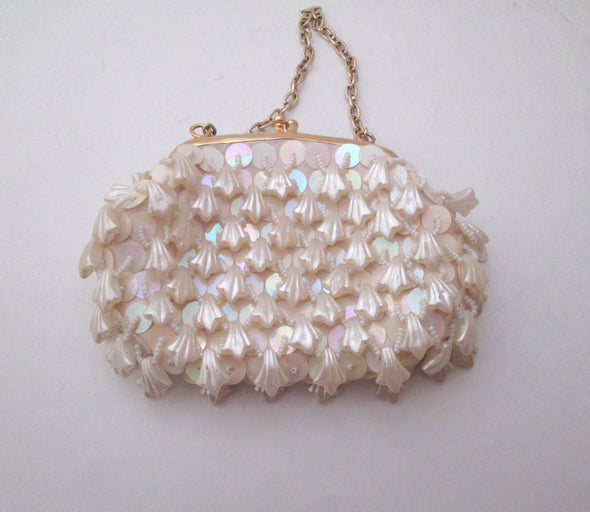 Vintage 1970s White Bead Mini Bag flower girl formal purse - Late Boomer Vintage