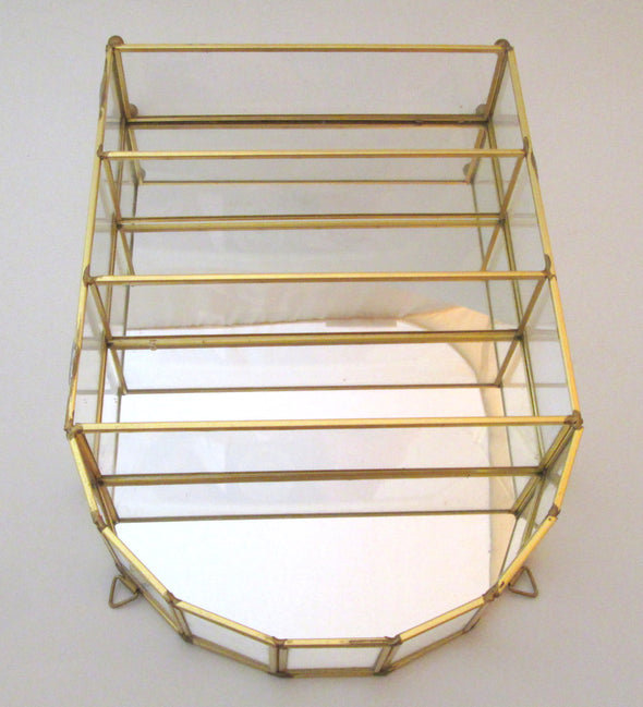 Glass and Brass Display Case vintage small glass shelf curio cabinet for miniatures - Late Boomer Vintage