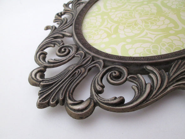 "Vintage 1970s Oval 13"" Picture Frame for 7x9 photos ornate baroque Italy silver metal boho decor filigree - Late Boomer Vintage"
