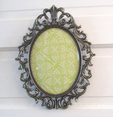 "Vintage 1970s Oval 13"" Picture Frame for 7x9 photos ornate baroque Italy silver metal boho decor filigree"