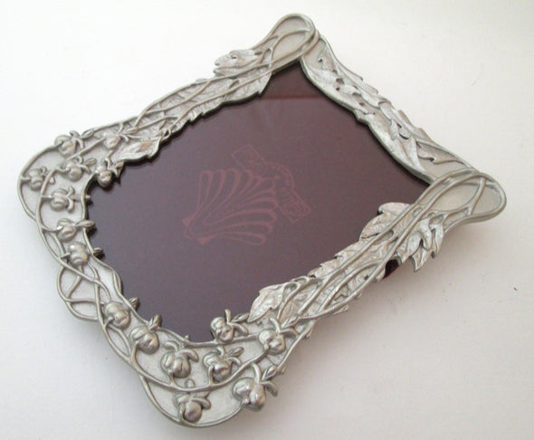 Vintage 4x6 Blue Mist Pewter Picture Frame for 3x5 photos Art Nouveau style flowers silver frame - Late Boomer Vintage